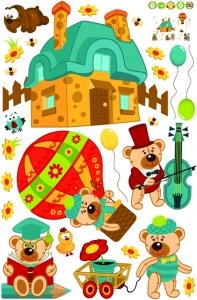 Sticker perete copii - Ursuleti in actiune