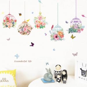 Autocolante camera de zi - Ghirlande cu flori - 120x78 cm