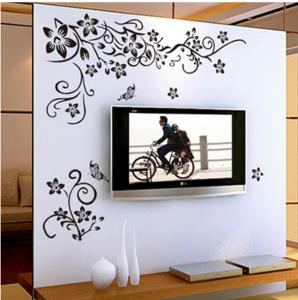 Stickere sufragerie - Flori si fluturi - Negru - 130x80 cm