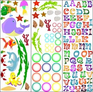 Stickere pentru camere bebelusi - Lumea marii - Nume personalizat din litere6