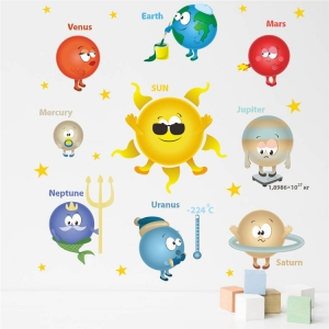 Stickere pentru copii - Planete si soare - 65x65 cm