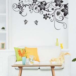Stickere camera de zi - Flori si fluturi - Negru - 180x90 cm