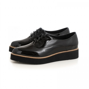 Pantofi oxford cu varf ascutit, din piele lacuita neagra2