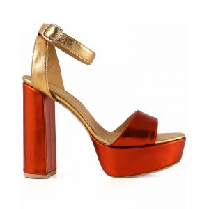 Sandale din piele laminata portocaliu intens si auriu, cu toc gros patrat si platforma0