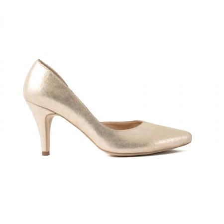 Pantofi stiletto din piele laminata, auriu texturat, cu decupaj interior0