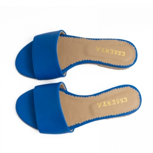 Flip flops din piele naturala albastru cobalt.2