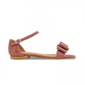 Sandale cu talpa joasa, din piele intoarsa roz somon, cu fundite0