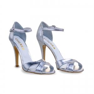 Sandale din piele laminata argintie1
