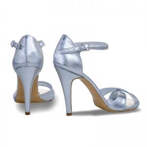 Sandale din piele laminata argintie2