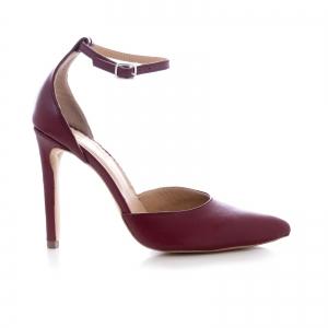 Pantofi din piele naturala de culoare visiniu0