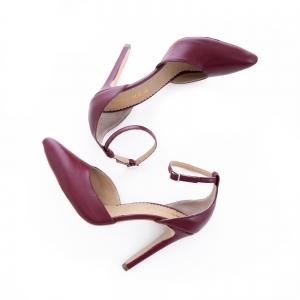Pantofi din piele naturala de culoare visiniu1