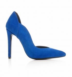 Pantofi stiletto, cu decupaj interior, din piele albatru intens0