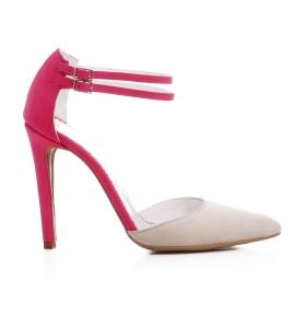 Pantofi stiletto din piele roz si crem0