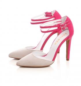 Pantofi stiletto din piele roz si crem1