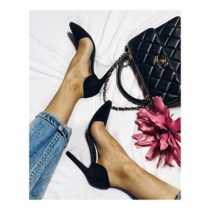 Pantofi Stiletto, din piele intoarsa neagra0