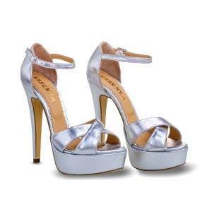 Sandale din piele argintie, cu toc stiletto si platforma