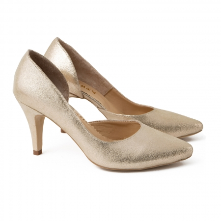 Pantofi stiletto din piele laminata, auriu texturat, cu decupaj interior1