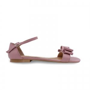 Sandale cu talpa joasa, din piele nappa roz, cu fundite0