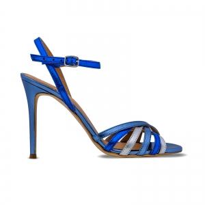 Sandale cu barete, din piele naturala metalizata argintie si albastra0