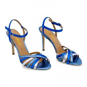 Sandale cu barete, din piele naturala metalizata argintie si albastra1