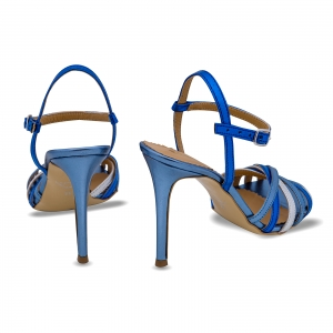 Sandale cu barete, din piele naturala metalizata argintie si albastra2
