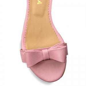 Sandale cu talpa joasa, din piele nappa roz, cu fundite3