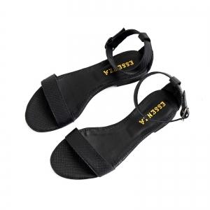 Sandale cu talpa joasa, din piele neagra cu presaj crocodil2