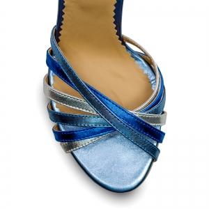 Sandale cu barete, din piele naturala metalizata argintie si albastra3