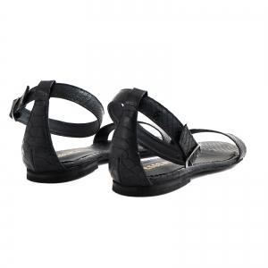 Sandale cu talpa joasa, din piele neagra cu presaj crocodil3