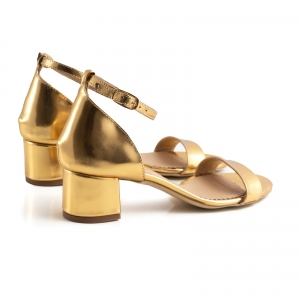 Sandale din piele laminata aurie, cu toc gros2