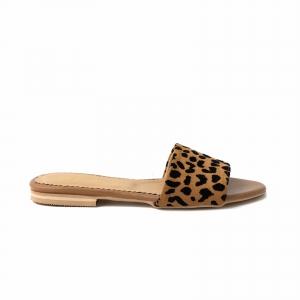 Flip flops din piele naturala cu animal print0