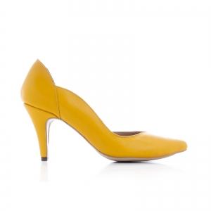 Pantofi stiletto din piele naturala galbena0
