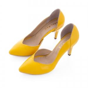 Pantofi stiletto din piele naturala galbena1