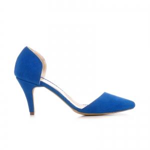 Pntofi stiletto decupati, albastru intens0