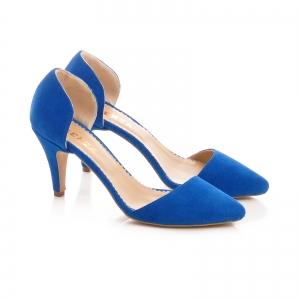 Pntofi stiletto decupati, albastru intens1