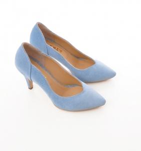 Pantofi stiletto din piele albastra intoarsa4