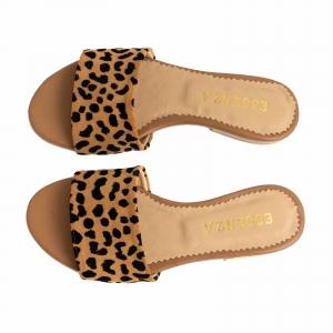 Flip flops din piele naturala cu animal print3