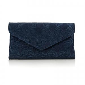 Poseta plic Emma, capac in V din piele naturala albastra texturata.0