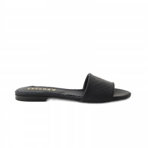 Flip flops din piele naturala neagra croco0
