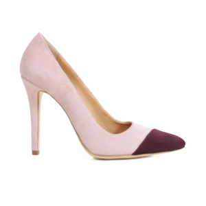 Pantofi stiletto din piele intoarsa roz si visinie0
