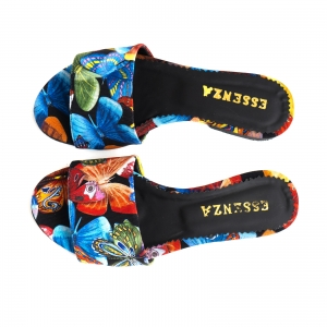 Flip flops din piele naturala cu print floral3