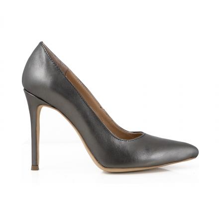 Pantofi Stiletto din piele gri metalizat0