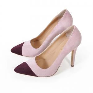 Pantofi stiletto din piele intoarsa roz si visinie1