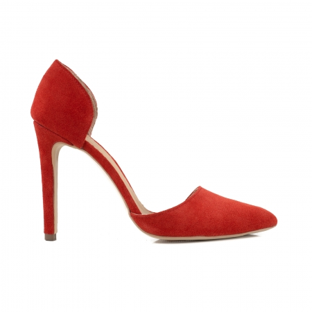 Pantofi Stileto decupati (interior/exterior ), din piele intoarsa rosie0
