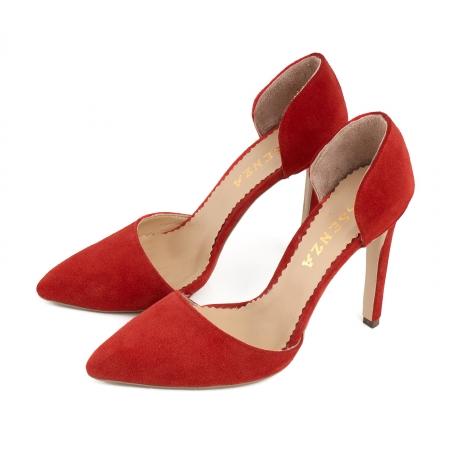 Pantofi Stileto decupati (interior/exterior ), din piele intoarsa rosie1