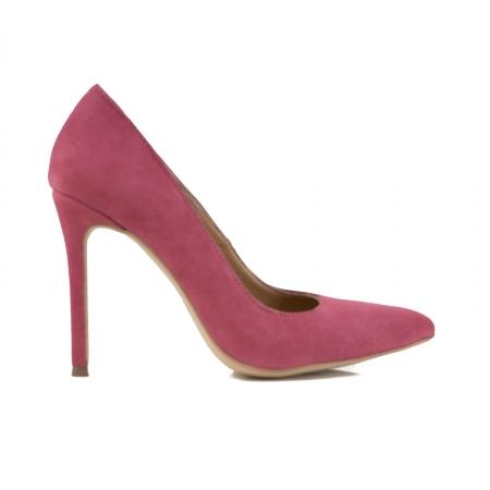 Pantofi Stiletto din piele intoarsa roz0