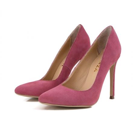 Pantofi Stiletto din piele intoarsa roz1