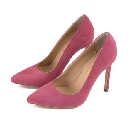 Pantofi Stiletto din piele intoarsa roz2