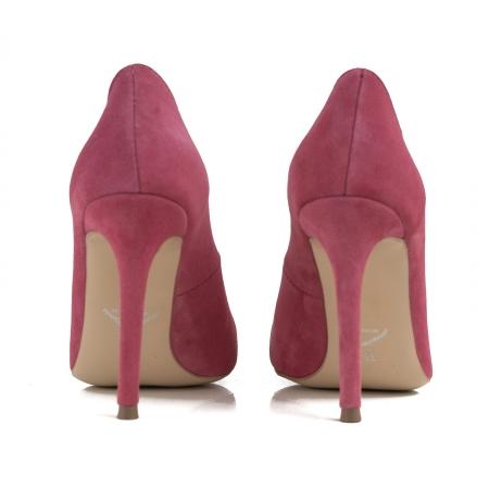 Pantofi Stiletto din piele intoarsa roz3