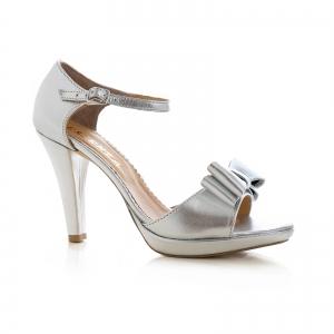 Sandale din piele laminata argintie, cu funde duble0